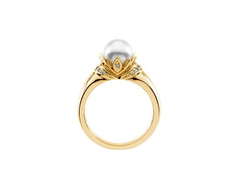 6.5-7mm Round Freshwater Cultured Pearl and  Diamond Ring ---- 14k Yellow Gold