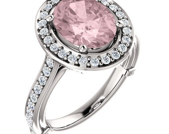 Natural AAA 10x8mm Oval  Morganite  Solid 14K White Gold Diamond halo Engagement Ring Set-ST233504