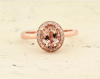 1.10 ct 8x6 mm Natural Oval Morganite  Solid 14K Rose Gold Diamond Engagement Halo  Ring-Gem952