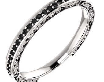Stackable 14k Gold Band ,Floral Sculptural, AAAA Black Diamond  ST133571