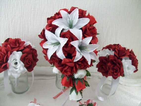 Red White And Black Bridal Bouquet Set Red Bridal Bouquet Etsy