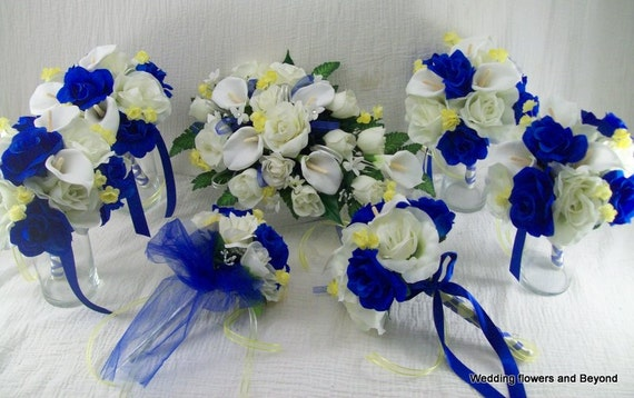 Blue and yellow wedding flowers made to order 17 peice bridal etsy image 0 mightylinksfo