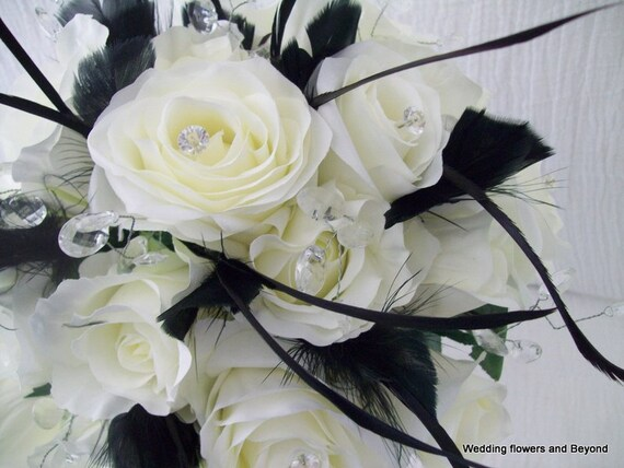 Black And White Bridal Bouquet Black Feather Bouquet Black Etsy