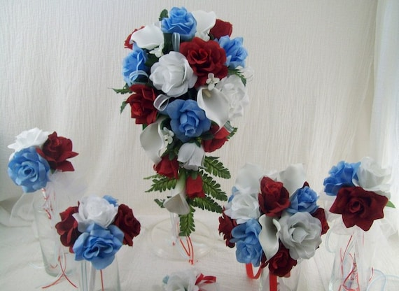 Red White And Light Blue Cascade Bridal Bouquet Wedding Flower Etsy