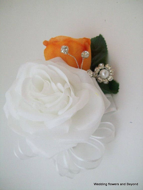 Orange And White Corsages Orange Corsages Corsages With Etsy