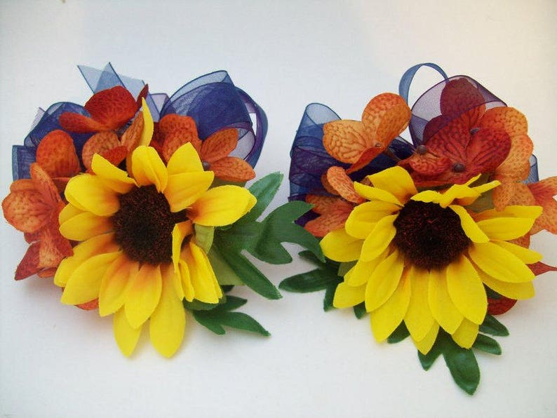 Sunflower Corsages and Boutonnieres Navy Blue and Yellow Silk Fall Wedding Flowers Rustic Fall Wedding Made To Order by Van Caron Collection