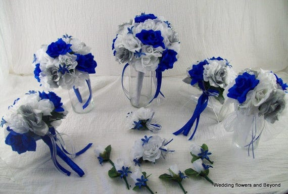 Royal Blue Silver And White Bridal Boquets Silk Rose Wedding Etsy