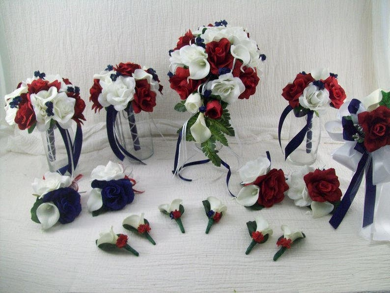 Red And White Wedding.Navy Red White Cascade Bridal Bouquet Military Wedding Bouquet Navy Blue Wedding Bouquet Real Touch Calla Lily Bouquet Red Bouquet
