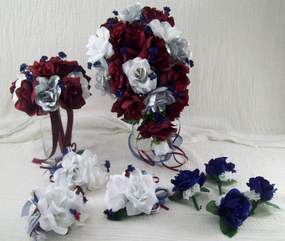 Burgundy Cascade Bridal Bouquet Navy Blue Bouquet Burgundy Etsy