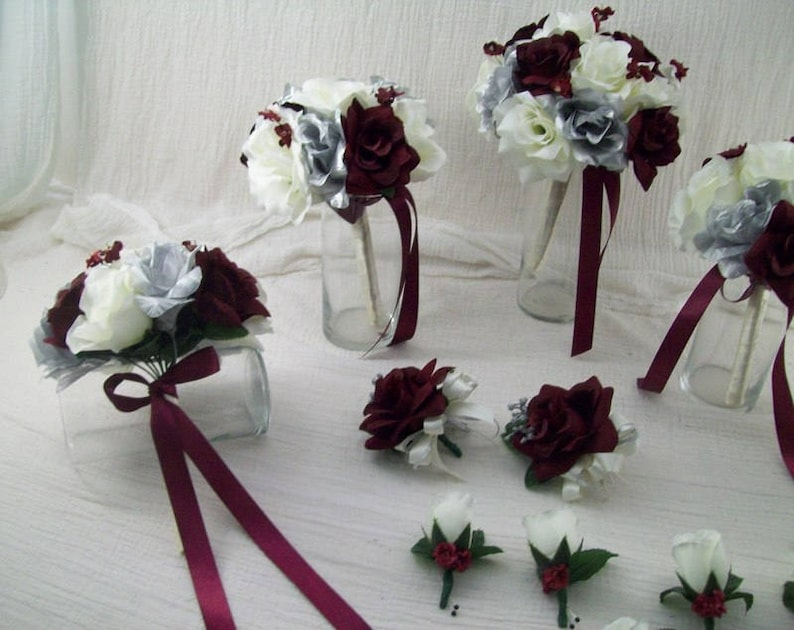 Burgundy Silver And Ivory Rose Bridal Bouquets Burgundy Boutonnieres Burgundy Corsage Silk Flower Set Package Burgundy