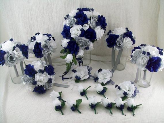 Navy BlueSilver White Silk Flower Package Cascade Bridal ...