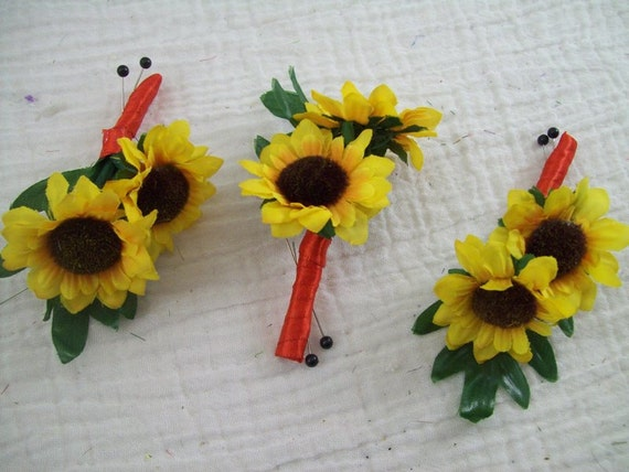 Sunflower boutonnieres red and yellow wedding flowers rustic etsy image 0 mightylinksfo
