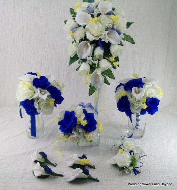 Horizon blue royal blue and yellow bridal bouquets cascade etsy image 0 mightylinksfo