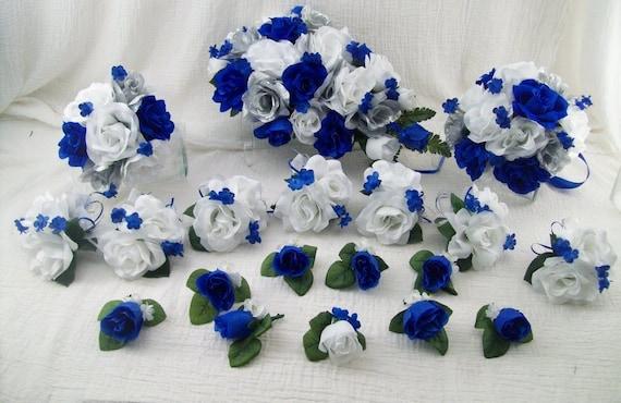 Silk wedding flowers cascade bridal bouquets royal blue etsy image 0 mightylinksfo