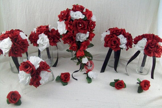 Red White And Black Wedding Flowers Red Rose Cascade Bridal Etsy