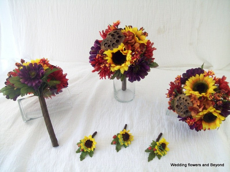 Rustic Silk Wedding Flowers Fall wedding Sunflower Bouquets 6 Piece Made To order Flower Package Sunflowers