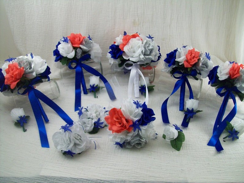 Silver And White Roses 14 pieces made to order Brides on a Budget WeDDiNG BouQuets Silk Wedding Flowers Bridal Bouquets Coral RoyaL Blue
