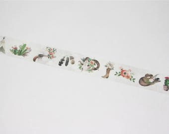 M484 Wild Wreath Washi Tape / Masking Tape, 1.5cm x 7m masking tape, pretty masking tape, scrapbooking, cowboy tape, whole washi roll