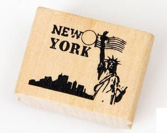 T087 New York Rubber Stamp / Wooden Stamp, America, United States, holiday, vacation, travel stamps, journaling, Statue of Liberty stamp