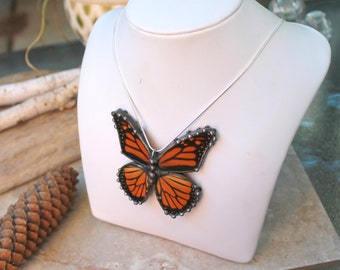 Real Butterfly Necklace,  Recycled Monarch Wings