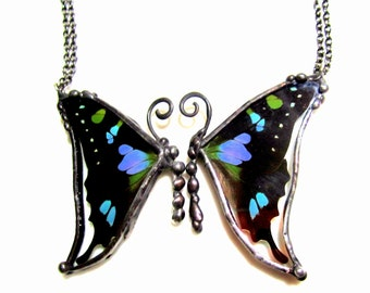 Mother Daughter Friendship Necklace, Real Purple Swallowtail Butterfly, BFF