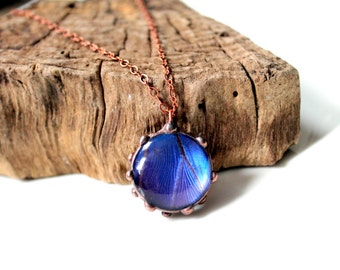 Round Blue Butterfly Copper Necklace, Real Butterfly Jewelry