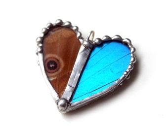 Real Butterfly Heart Pendant - Blue Morpho