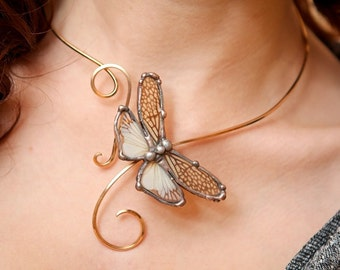 Real Insect Wing Jewelry, Cicada Wing, Brass Torc, Insect Wing Choker