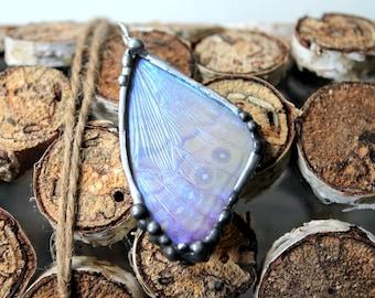 Real Butterfly Pendant, Morpho Sulkowski, Butterfly Wing Necklace