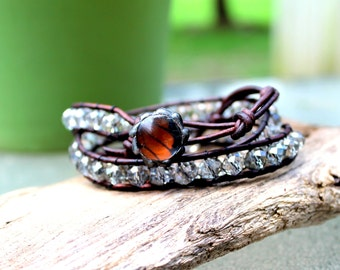 Clear Crystal Brown Leather Wrist Wrap with Monarch Butterfly Wing Button