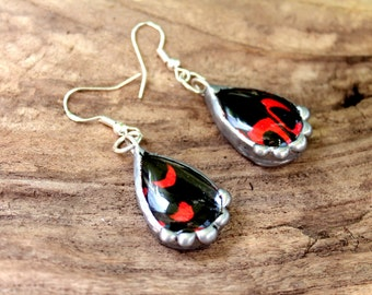 Black and Red Butterfly Earrings, Real Butterfly Wing