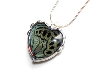 Green and Black Butterfly Wing Heart Pendant,Valentine Jewelry