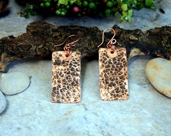Hammered Copper Earrings, Rectangle Copper Earrings, Dimpled Copper Earrings