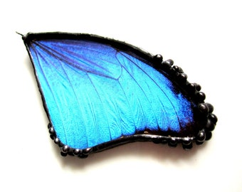 Large Blue Butterfly Wing Pendant