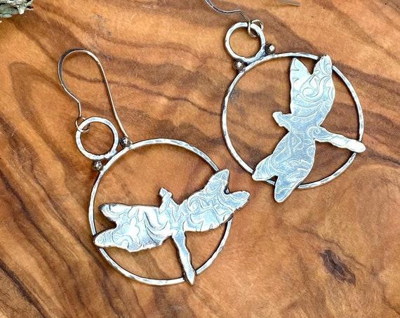 Dragonfly Hoop Earrings in Silver