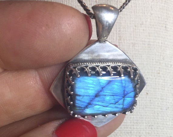 Stormy Skies! Moody Labradorite necklace in Sterling Silver with decorative gallery wire bezel