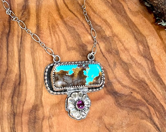 Turquoise and Rosarita Bar Necklace