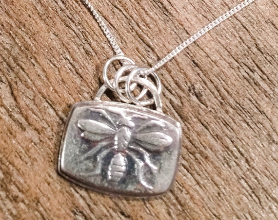 Antique Bee Image Silver Necklace