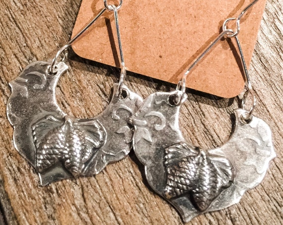 Pine Bough Silver Drop Earrings
