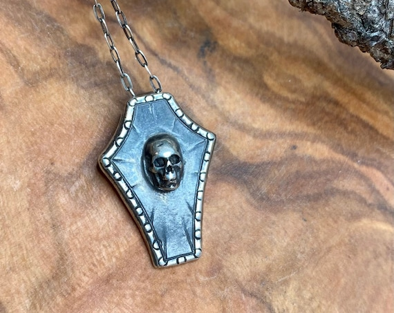 Tiny Coffin and Skull Silver Pendant