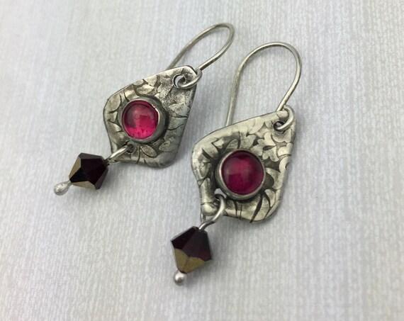 Synthetic Ruby earrings in Sterling silver