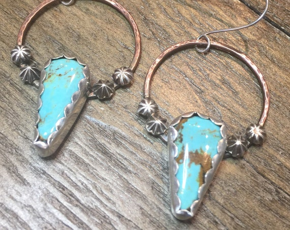 Turquoise Hoop Earrings in Sterling Silver with Copper Accents
