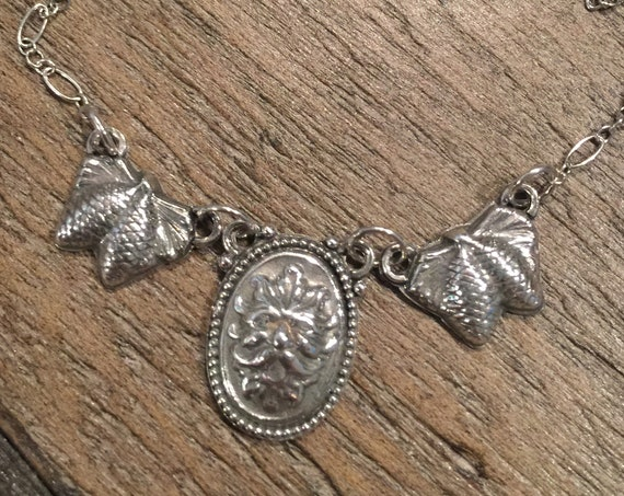 Green Man with Pine Cones Silver Necklace