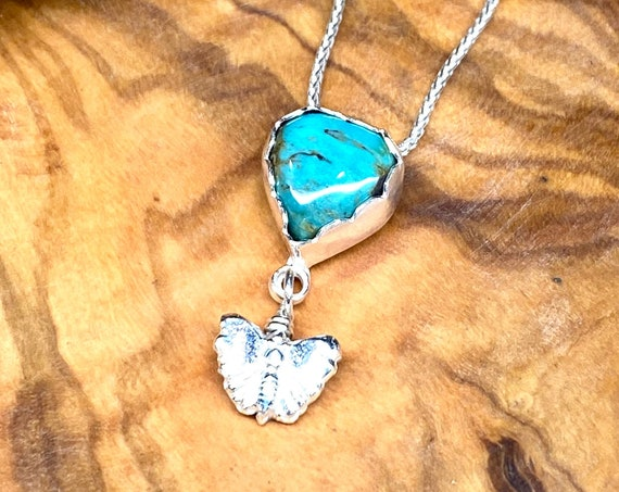 Delicate Turquoise Heart with Silver Butterfly Pendant