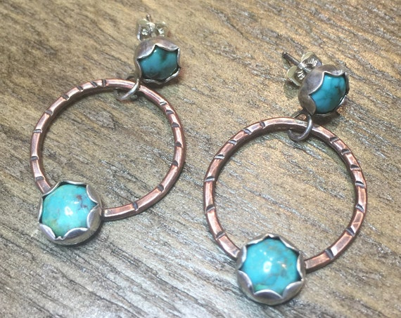Rustic Turquoise Hoop Earrings in Sterling Silver with Copper Accents