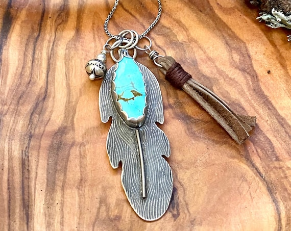 Enchanting Light Blue Turquoise Feather Necklace