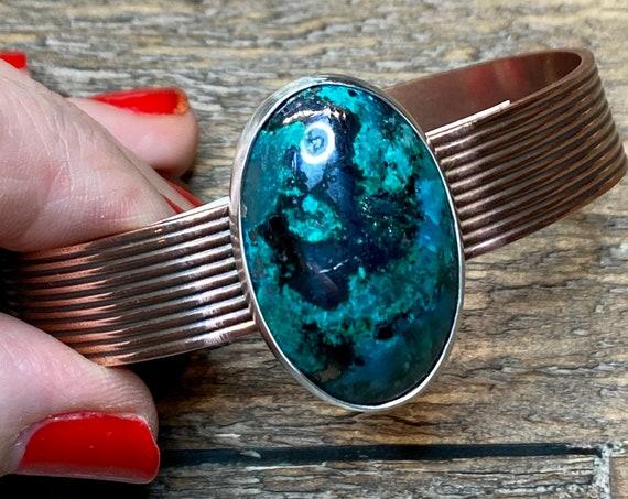 Chrysocolla in Silver on Copper Cuff Bracelet