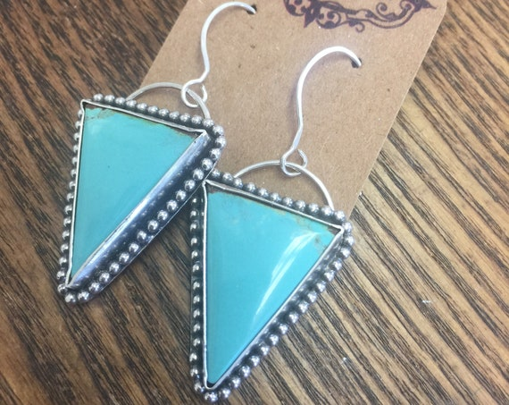 Number 8 Mine Turquoise Drop Earrings in Silver