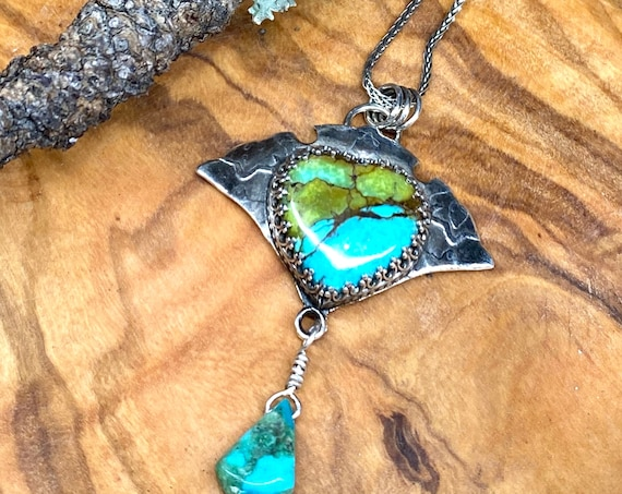 Sparkly Turquoise Heart with Turquoise drop pendant