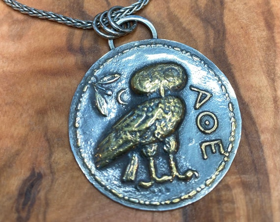 Replica Athenian owl tetradrachm coin necklace in fine silver and 22kt gold